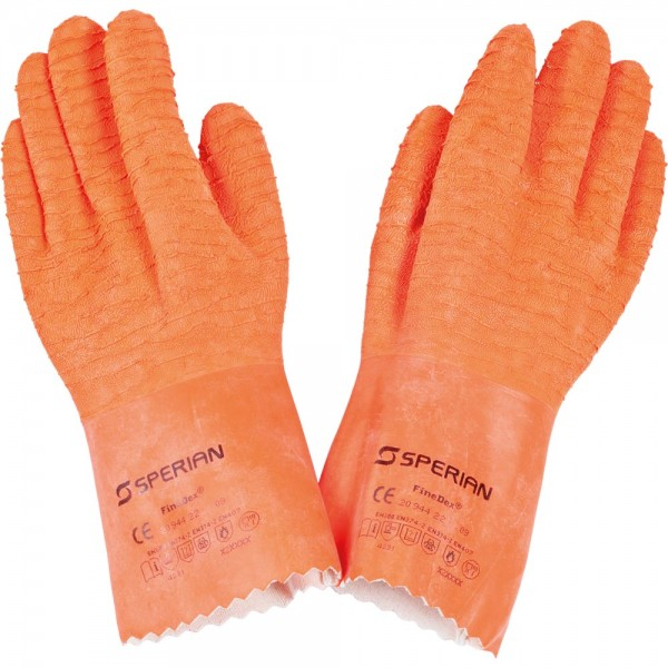 Latex-Handschuhe fünf Finger orange Länge 30 cm