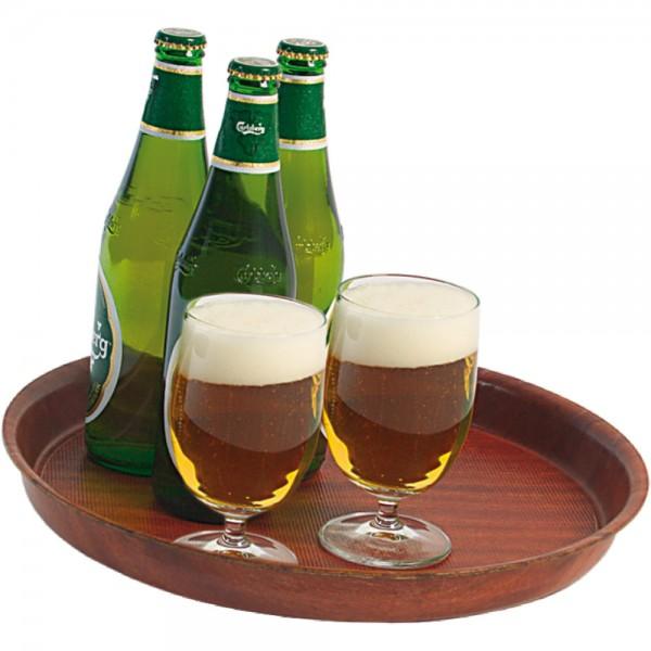 Bierglasträger aus laminiertem Schichtstoff Farbe Mahagoni Ø 36 cm Höhe 3,5 cm