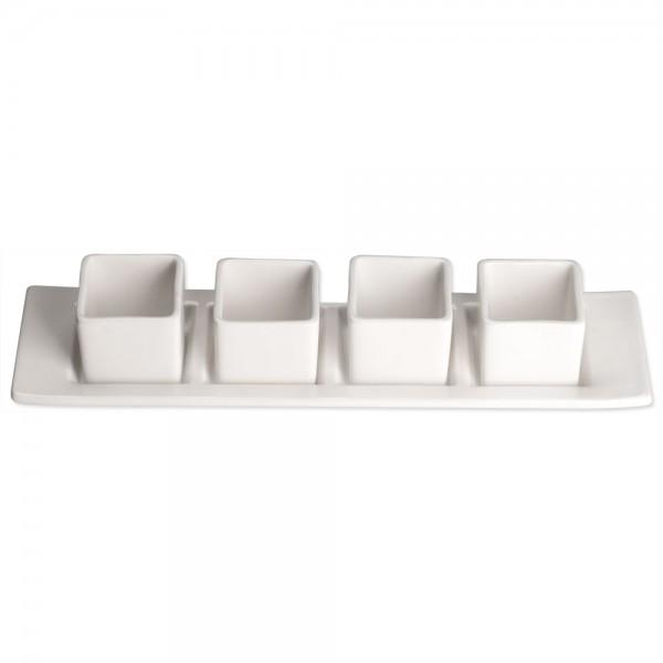 Serie Elegantia Set Mini-Präsentierschälchen eckig eine Platte vier Schälchen