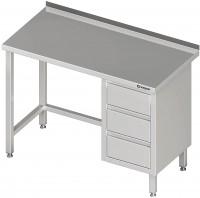Arbeitstisch ohne Grundboden, mit 3er Schubladenblock, mit Aufkantung, verschweißt