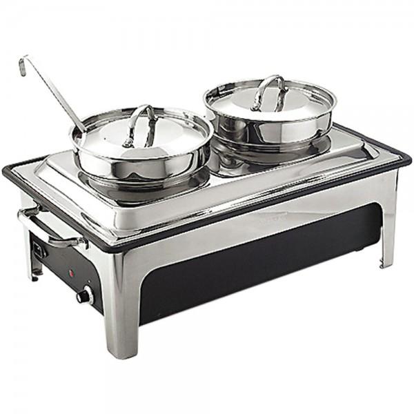 Elektro-Suppenstation Wanne aus Kunststoff 2 x 4 Liter inklusive zwei Suppenschöpfern