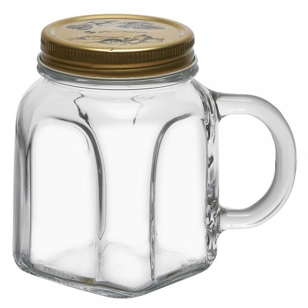 Trinkglas mit Henkel und Deckel 0,45 L
