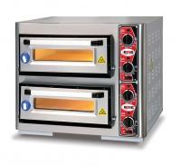 Pizzaofen ohne Thermometer, 2 Kammern, 4+4 Pizzen Ø 25cm, 4 Thermostate
