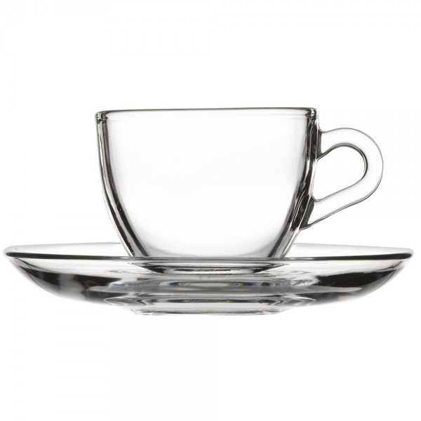 Moccaglas 0,09 Liter mit Untertasse