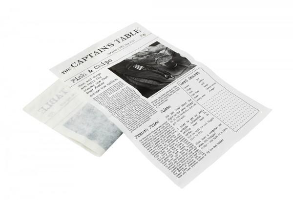 Wachspapier mit Zeitungsdruck 270 x 420 mm (BxTxH)